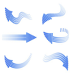 set of blue arrows from circles