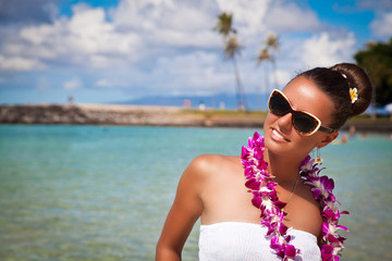 Beautiful girl smiling on Hawaiian beach