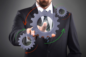 Business Process, interface with cogwheels