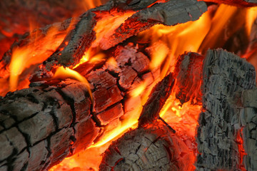 Fire, burning planks
