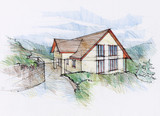 Illustraton of a house concept in mountains region. - 72373517