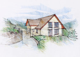 Illustraton of a house concept in mountains region.