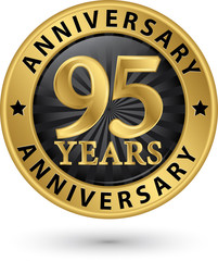 95 years anniversary gold label, vector illustration