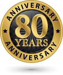 80 years anniversary gold label, vector illustration
