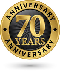70 years anniversary gold label, vector illustration