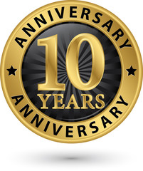 10 years anniversary gold label, vector illustration