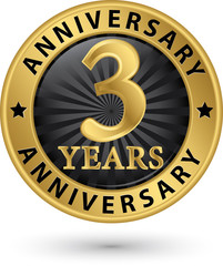 3 years anniversary gold label, vector illustration