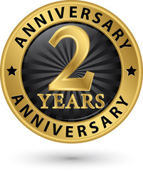 2 years anniversary gold label, vector illustration