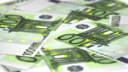 Seamless loop - Rotating plate of 100 euro bills