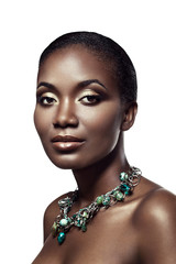 Beauty portrait of handsome ethnic african girl, isolated on whi