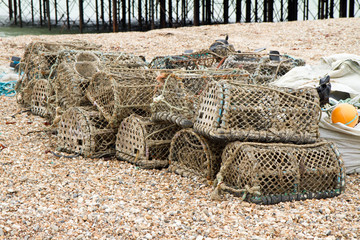 Fishing cages on a beach