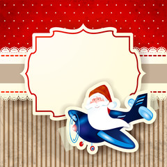 Santa Claus and the airplane over red background