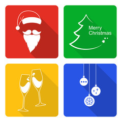 Set of icons for Christmas and New Year design in flat style
