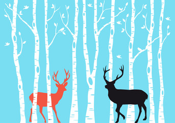 Reindeer Christmas card, vector