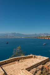 View of Antalya, Mediterranean sea and seaside, Turkey