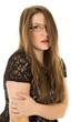 woman black outfit glasses one eye behing hair