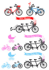 Baby shower with tandem bicycle, vector set