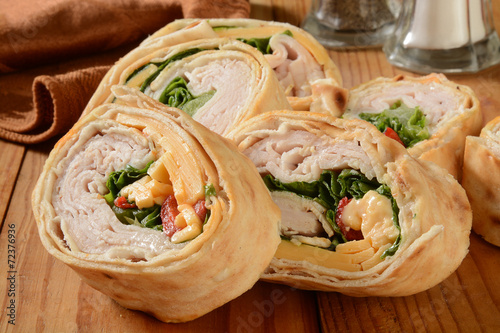 Fotobehang Snack Turkey wrap sandwich