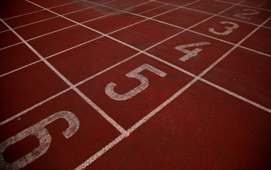 The finish on the running tracks on the athletics stadium
