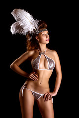 athletic girl with a bathing suit. carnival costume