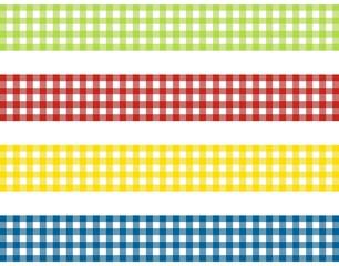 4 Streifen mit Tischdeckenmuster grün rot gelb blau