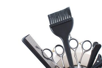A Set of Hairdresser's Accessories Isolated. Stock Image.