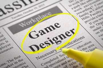 Game Designer Jobs in Newspaper.