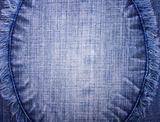 Jeans Background with Round Fringed Center