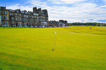 Golf St Andrews old course links. Bridge hole 18. Scotland.