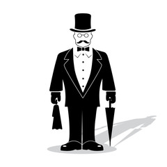 cartoon gentleman on a white background