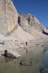 beautiful landscape with mountain lake in Fann mountains, Tajiki