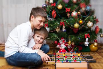 Happy brothers. Christmas photo