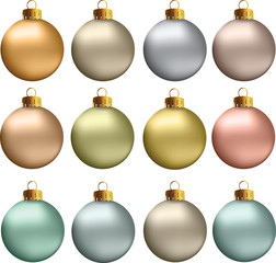 Vector Christmas Balls Pastel Metallic Colors