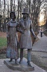 The monument to Pushkin and Goncharova.