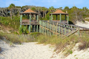 Observation Pavillion on a Beach Walkway