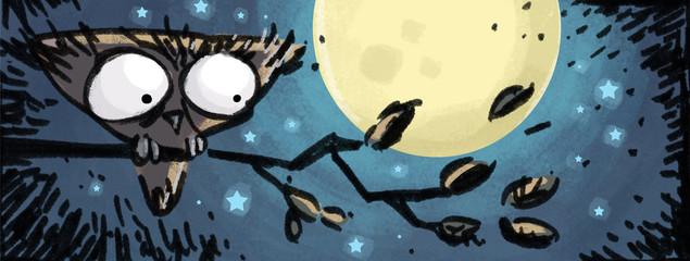 búho en la noche