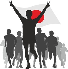 Winner with the Japan flag at the finish