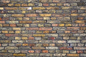 Muur gemaakt van oude bakstenen