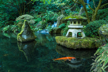 A Lantern and Waterfall in the Portland Japanese Garden