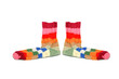 canvas print picture - Warm knitted woolen socks knitting needles isolated on a white b