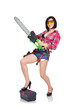 sexy girl green chainsaw