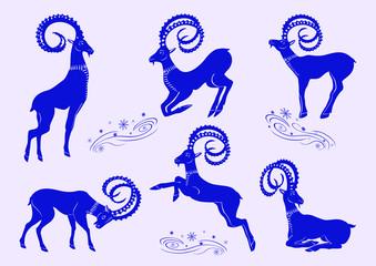 Set of blue mountain goats