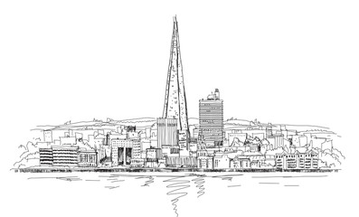 London panoramic view and Shard of glass building, Sketch collec
