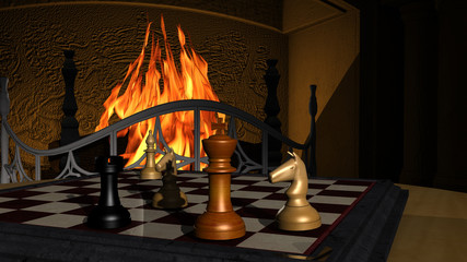 Chess Game illustration in front of a fireplace