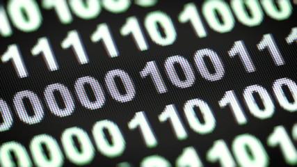 Binary code on a screen. Looping.