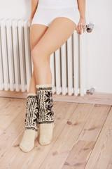 Woman's legs in socks