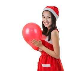 Beautiful Asia woman wear Santa Clause costume, christmas girl h