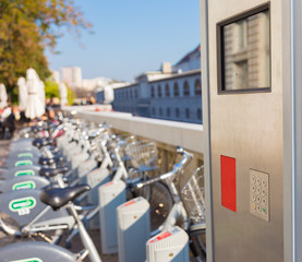 Station of urban bicycles for rent