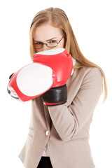 Woman wearing boxer gloves