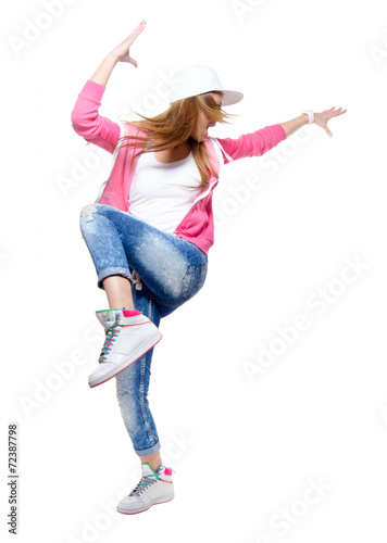 Young hip hop dancer dancing isolated on white background. Poster